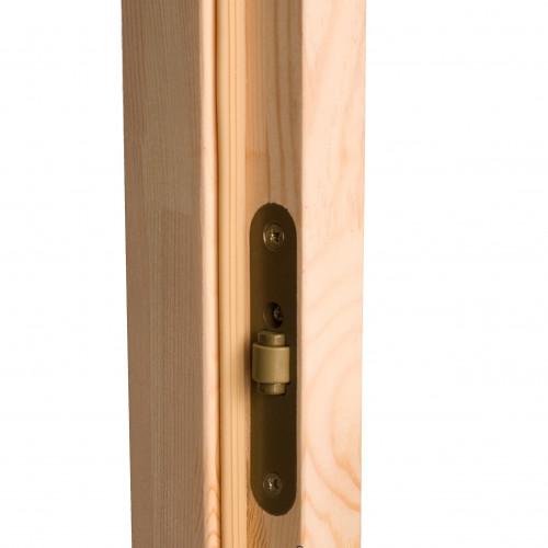 Bastudörr 70x190, furu/bronsglas, detaljbild rullåset