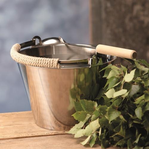 Snygg rostfri bastuhink 8 liter med lindat handtag och skopa.