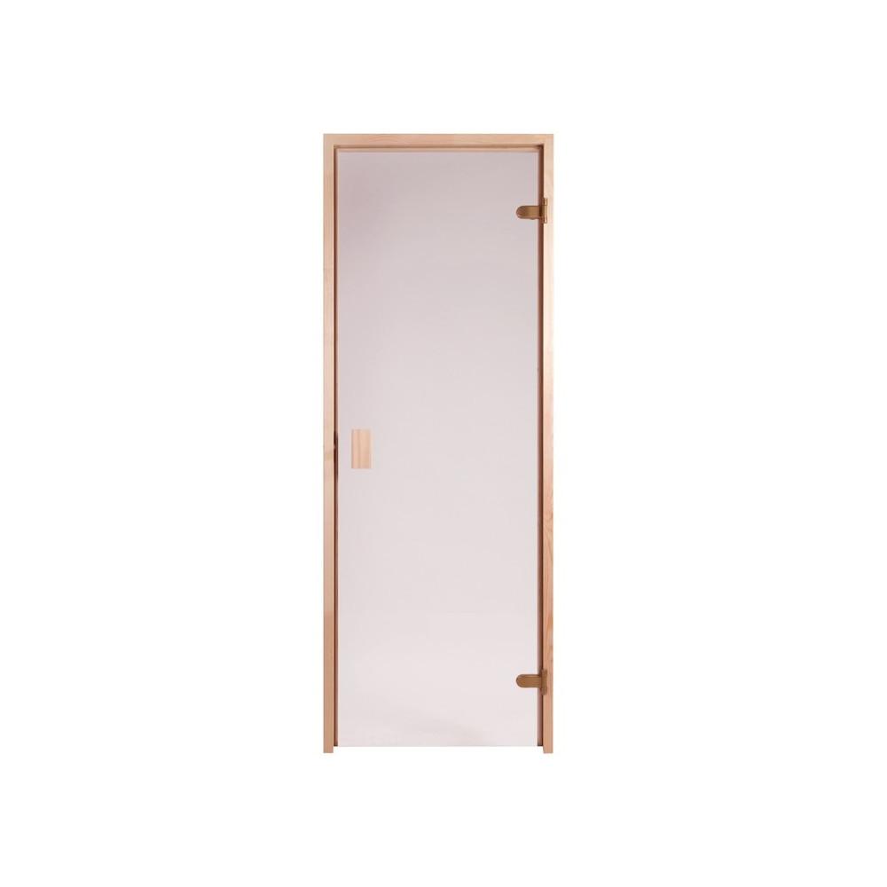 Bastudörr med bronsfärgat glas och alkarm 92 mm, rejält Abloy gångjärn och rullås, enkel att montera