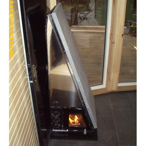 Art 19806, Rostfri svartlackerat brandskydd 550 x 620 mm avsett att monteras på klinkersgolv