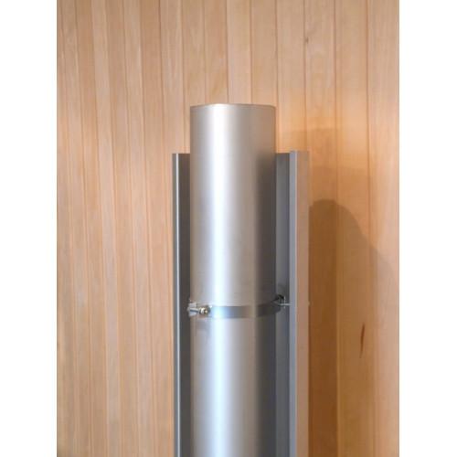 Rostfritt rökrörsmonterat brandskydd, ger skyddsavstånd 250 mm, passar också hörnmontage