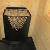 Bastuaggregat med gigantiskt stenmagasin, frigör enorma mängder ånga, två värmezoner för snabb eller långsam respons