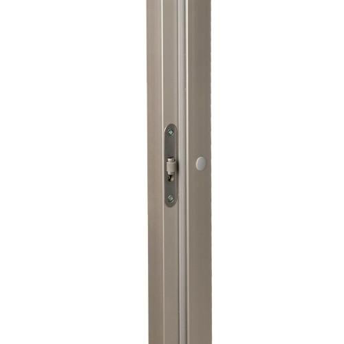 Bastudörr 70x190 cm med naturanodiserad Aluminiumkarm, rökfärgat glas, svart knopphandtag i trä
