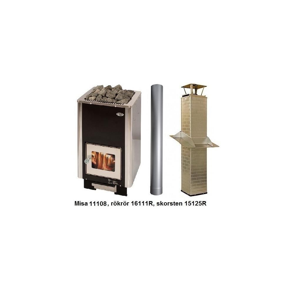 Vedeldat bastuaggregat med skorsten