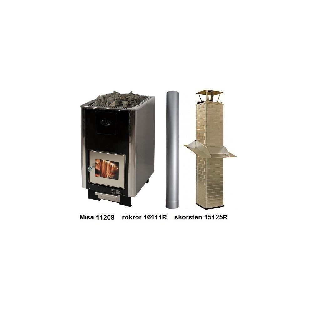 Paket Misa 11208 vedeldat bastuaggregat med rökrör och bastuskorsten