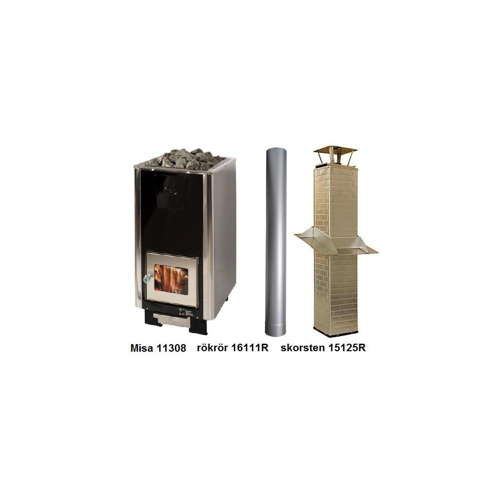 Paket Misa 11306 vedeldat bastuaggregat med rökrör och skorsten