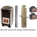 Paket Misa 11108 vedeldat bastuaggregat med skorsten, rökrör och keramisk bastusten
