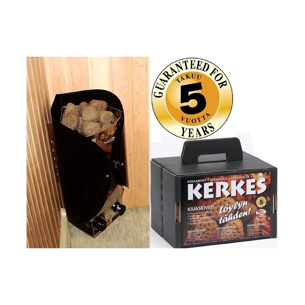 Misa Kolibri 4,5kW, svart/rostfri, med Kerkes keramiska bastustenar för sköna och hälsosamma bad.
