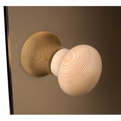 Bastudörr med klarglas och karm i furu, knopphandtag i furu, rejält Abloy gångjärn och rullås
