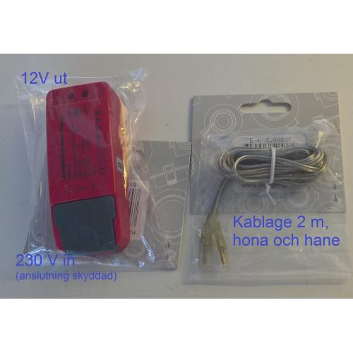 Drivdon med kablage till LED list bastu