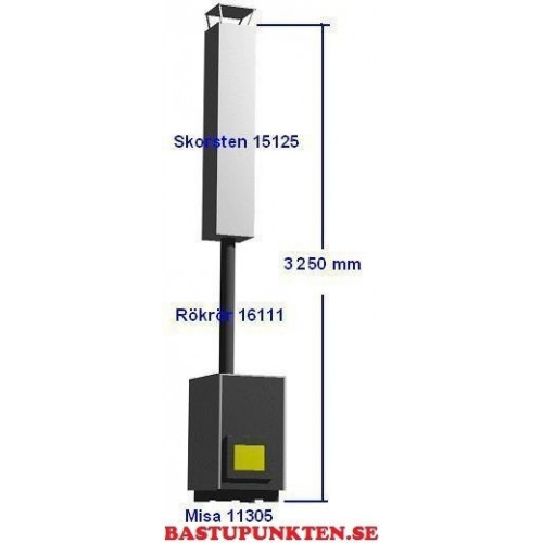 Paket Misa 11308 för bastu 15-30 m3 inkl rökrör, skorsten och keramisk bastusten
