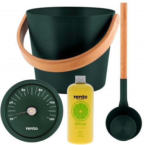 Bastuset med bastuhink enrisgrön, matchande skopa och termometer, samt bastudoft citrus