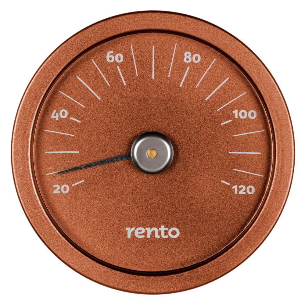 Elegant bastutermometer i kopparfärg från Rento