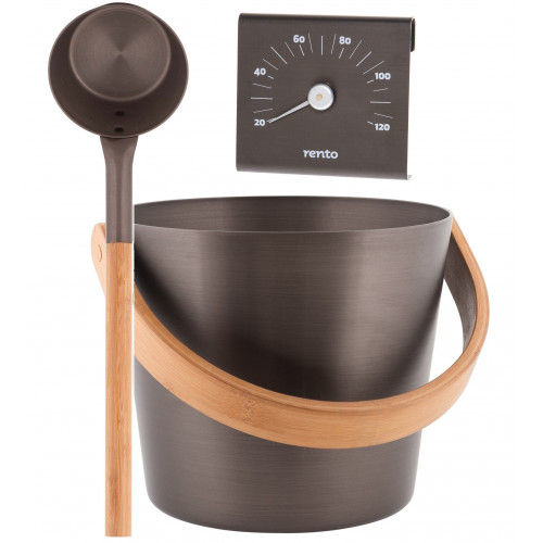 Bastuhink Tjära med skopa och termometer