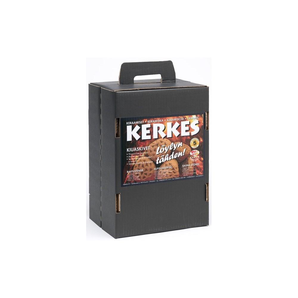 Kerkes sats 30kg med tetraformadetoppstenar och kulor förvedeldade Harvia Pro 20 ochHarvia linear 22