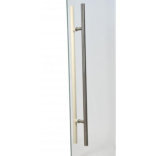 Bastudörr med Aluminiumkarm 70x210 cm, Frostat glas, handtag 900 mm med al-trä insida och rostfritt utsida, detta är en kundretur