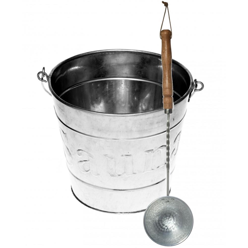 Bastuhink5 liter i förzinkad plåt med matchande skopa