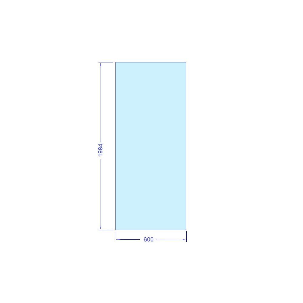 Härdat säkerhetsglas till bastu och badrum Storlek 600 x 1984 mm, t= 8 mm Monterad höjd i glasvägg med våra u-profiler så blir höjden ca 2000 mm