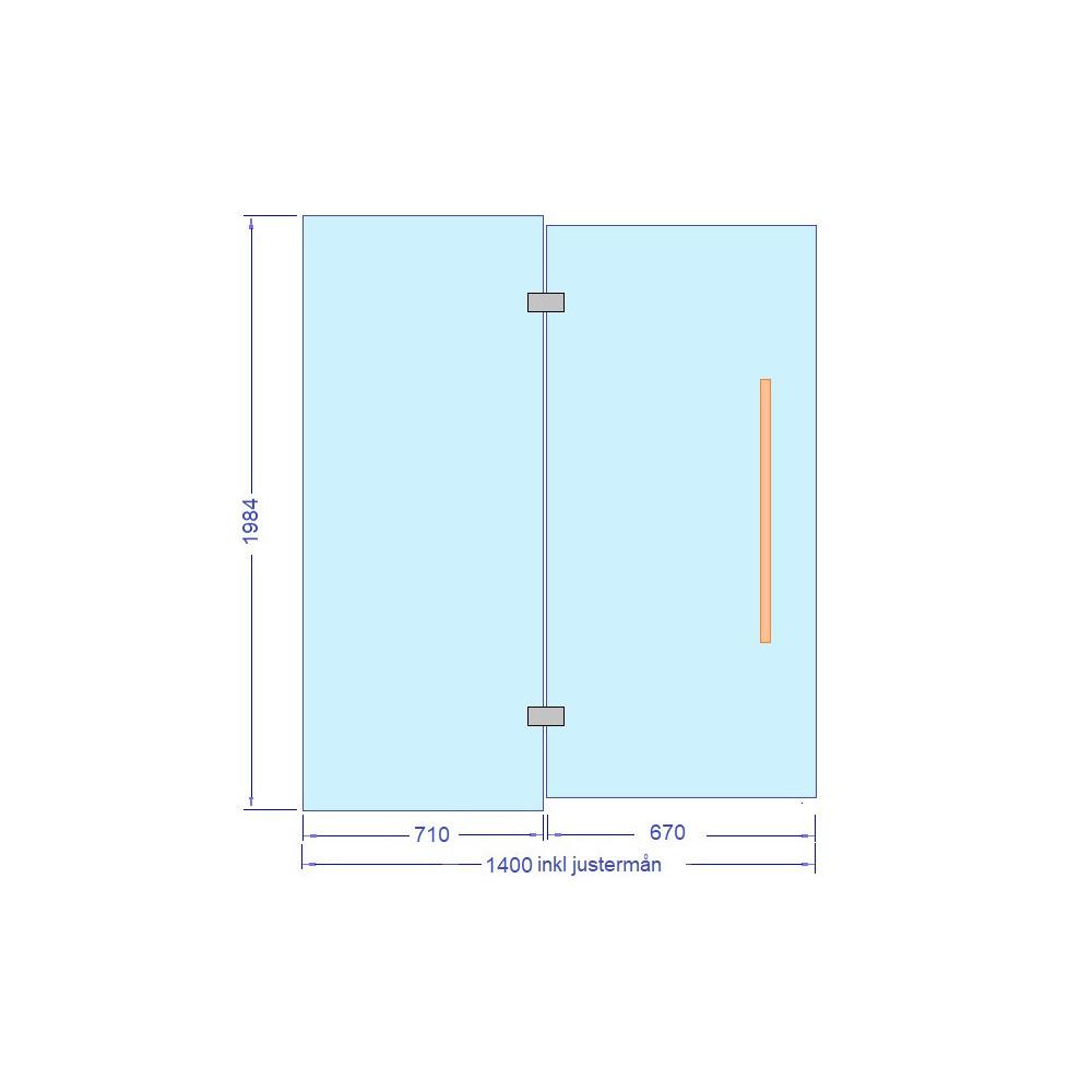 Glasdörr med sidoglas 1400x1984 mm