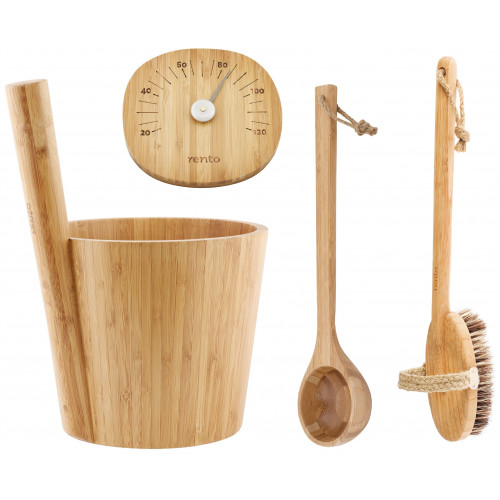 Bambustäva och bambuskopa, bambu termometer och bambu borste. Exklusivt set för den eleganta bastun
