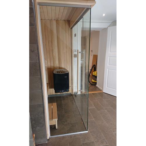 Glasvägg 1200x2000 mm, monterad höjd 2000 mm, härdat säkerhetsglas