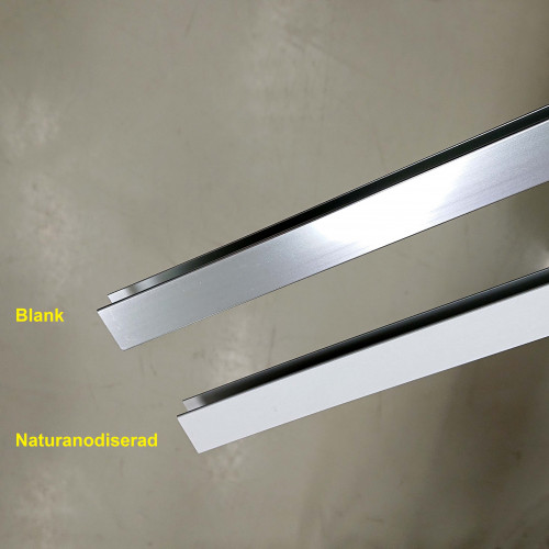 Aluminiumprofil jämförelse blank och naturanodiserad