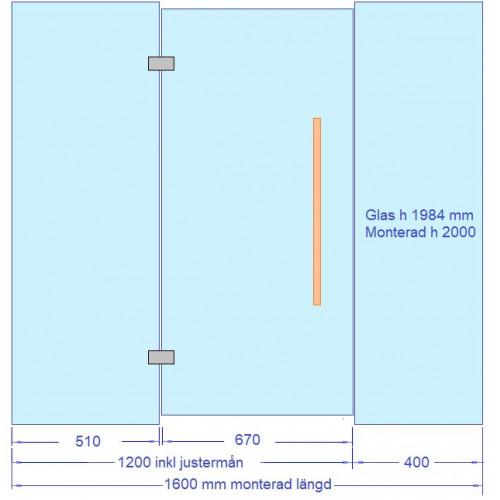 Glasvägg till bastu 1600x2000 mm