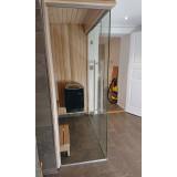 Glasvägg 2200x2000 mm till bastu, glasdörr med sidoglas 1400 mm, ett glas till om 800 mm