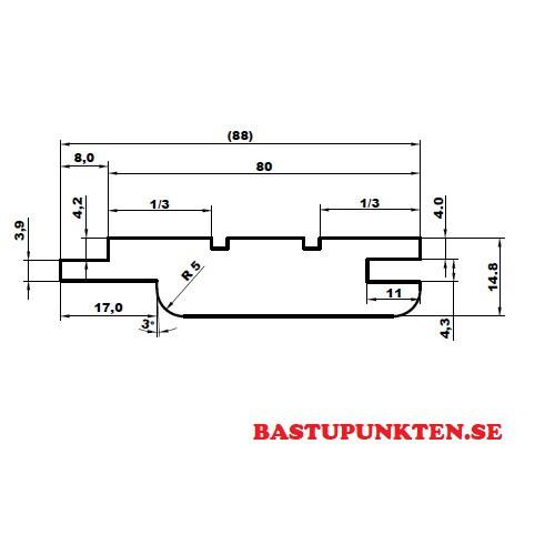 Bastupanel i Al 15x90 profilmått