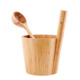 Bastuhink i bambu med matchande skopa, termometer och ryggborste, detta är ett exklusivt presentset.