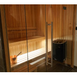 Glasdörr670x1940 med gångjärn som skruvas i vägg, härdat säkerhetsglas