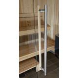 Handtag 900 mm till glasdörr bastu, trä insida bastu, rostfritt utsida
