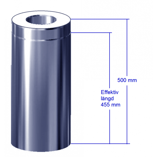Förlängning svart 455 mm till paket svart rund svart bastuskorsten