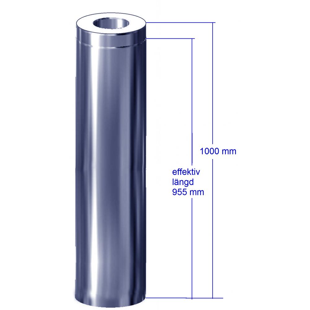 Förlängning 955 mm till paketsvart rund bastuskorsten