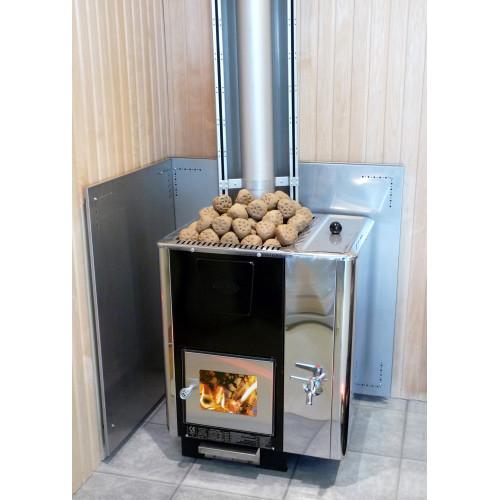 Rostfritt rökrörsmonterat brandskydd, ger skyddsavstånd ca 125 mm till brännbart material, passar också hörnmontage