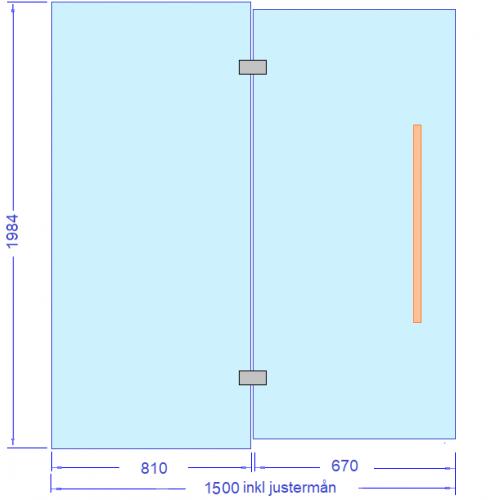 Glasvägg 1500 mm inkl 10 mm justermån