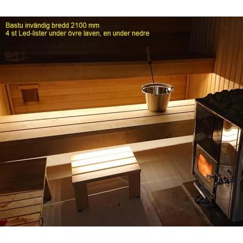 6st LED-list för bastu, inkl drivdon och 2x 2 m kablage, monteras tex under bastulav lite framåtriktad