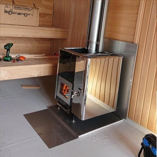 Brandskydd golv för vedeldade bastuaggregat, rostfri plåt överst och 2st underliggandebrandklassade skivor