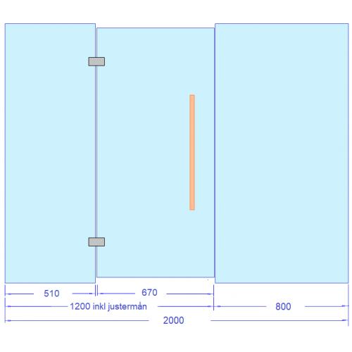 Glasvägg 2000x2000 mm till bastu och badrum