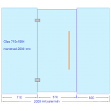 Glasvägg 2000x2000 mm