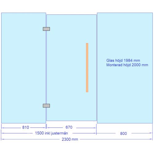 Glasvägg 2300 mm komplett sats med U-profiler, gångjärn, handtag, monteringskit