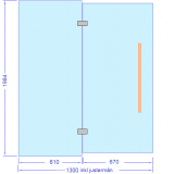 Glasvägg 1300x2000 mm