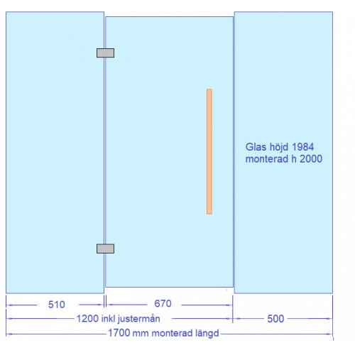 Glasvägg 1700 mm