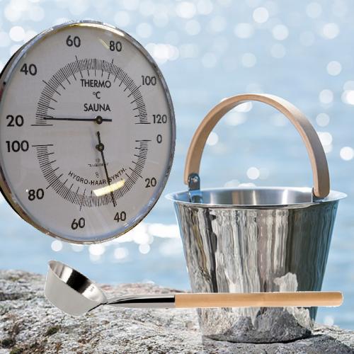 Snygg rostfri bastuhink med skopa och termometer/hygrometer