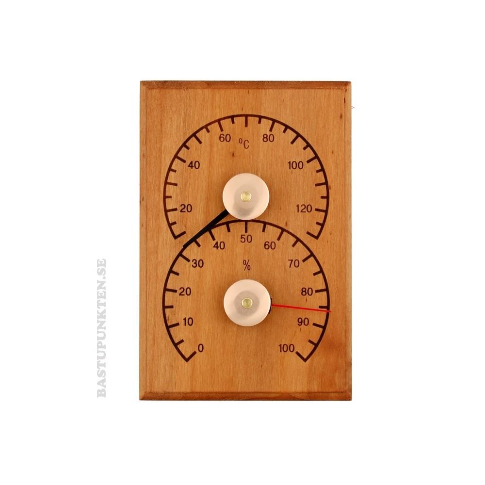 Enkel Bastutermometer och hygrometer monterad vertikalt