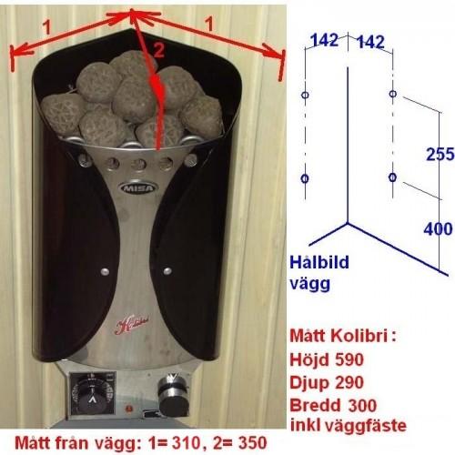 Ett hörnaggregat som tar liten plats, rymmer ändå 12 kg bastusten så Du kan frigöra massor med skön ånga