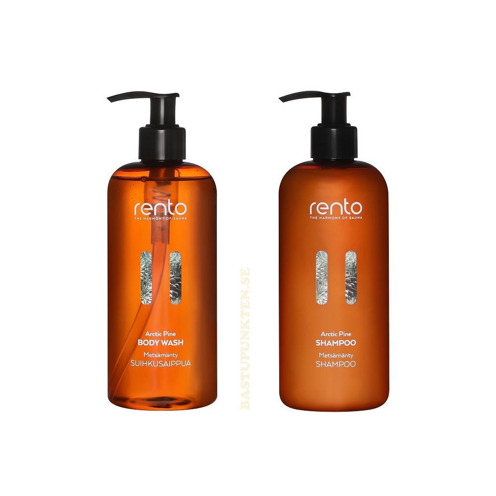 Bodywash och Shampoo med doft av behaglig skogstall