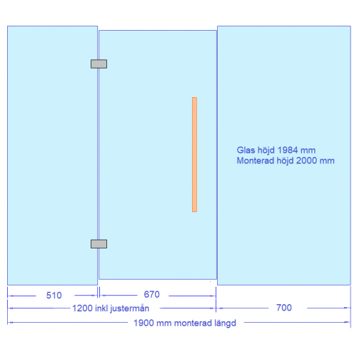 Glasvägg till bastu och badrum 1900 mm