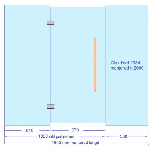 Glasvägg 1800 mm, dörr med sidoglas 1300, extraglas 500