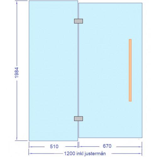 Glasvägg 1200x2000 mm